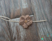 Light Brown Canvas  Shabby Chic Flower Headband- Newborn- ready to ship