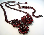 DEPOSIT// RESERVED FOR C //  Weiss Rhinestone Set Necklace Bracelet Ruby Red Rich Gun Metal Setting 1950s Vintage Jewelry