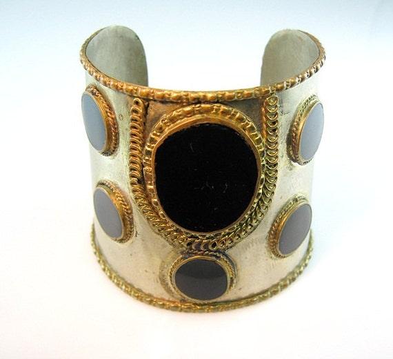 Vintage Tribal Handmade Large Silver Cuff Bracelet Black Gold Silver 1970s Jewelry India Boho