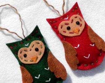 Felt Owl Ornaments Christmas Felt Owl Ornaments