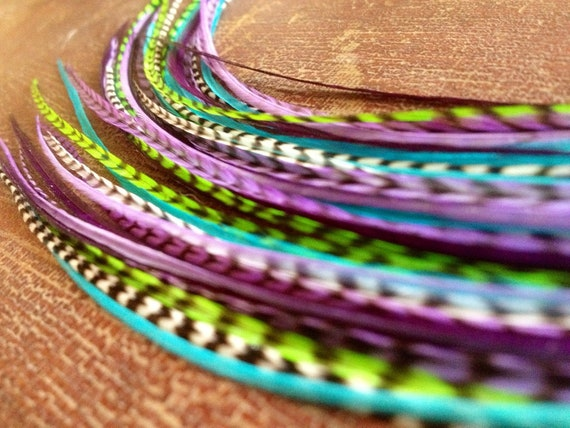 Feather Extensions Long Grizzly Feather Hair Extensions Purple, Green, Blue Bright Spring Hair Accessories, 6 Hair Feathers Kit