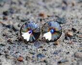Rainbow Gray Earrings, Vintage Super Sparklers Minnies - Saturn Rainbow Swarovski Crystal Stud Earrings