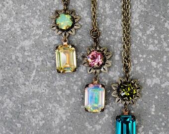 Green Opal Vintage Lemon Mist Rose Pink Aurora Borealis Swarovski Crystal Super Sparkler Star Gazer Pendant Necklace Mashugana