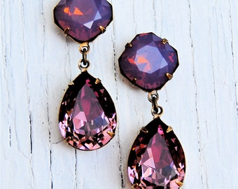 Lavender Raspberry Opal Eggplant Purple Swarovski Crystal Dangle Earrings Post Dangle or Clip on Earrings Gwenevere Mashugana
