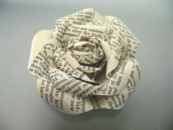 Bible paper flower rose pin made with vintage bible pages; brooch, corsage, boutonniere, buttonhole, lapel pin; wedding, formal