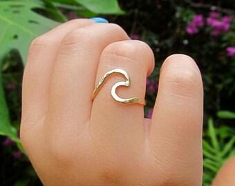 Wave Ring, Gold, Surfer Girl Gift Idea, Hawaiian Jewelry, Handmade Hawaii, Mermaid Accessory, Unique Rings, Summer fashion, Stocking Stuffer