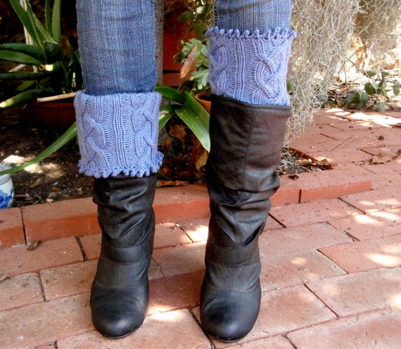 Cabled Boot Cuffs Leg Warmers In Pale Denim By KnitsKnotsNStitches