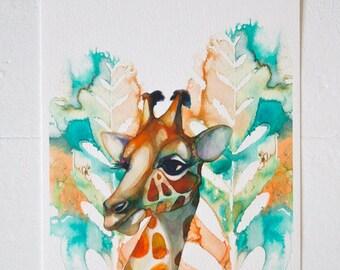 ART PRINT- Giraffe, animal art , safari nursery
