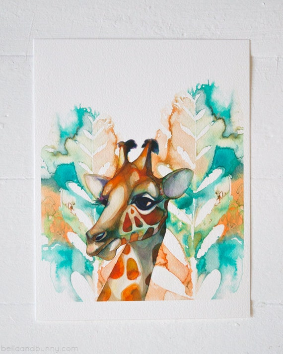 ART PRINT- Giraffe, animal art , safari nursery