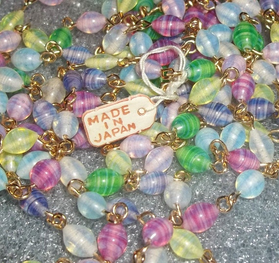 RESERVED Vintage Beaded Chain Japan Colorful (3 Feet)