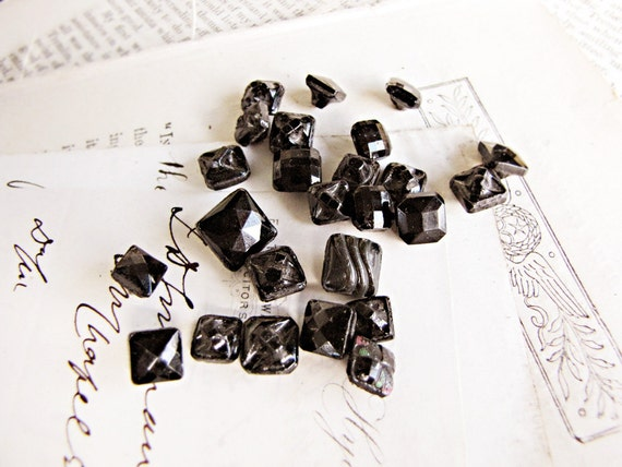 tiny antique square glass buttons - vintage faceted french jet - Austrian tinies