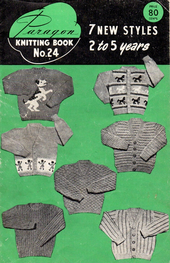 Knitting Pattern With Animals Motifs On : Vintage Knitting Patterns for Toddlers Sweaters by BessieAndMaive