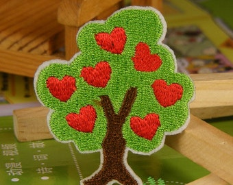 Iron on Fabric Patch - Tree with Loving Hearts - FP33