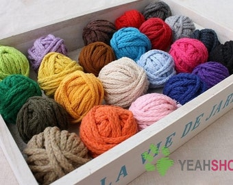 5mm Thick 8 Ply Colorful Cotton Rope - 1 Meter of Each Color