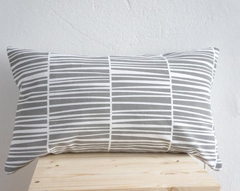 "Handprinted Pillow Organic Cotton Gray Cushion Zebraria 20 x 12"""