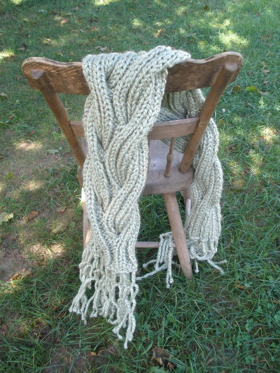 Super Cable, hand knit reversible cable scarf