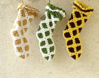 Three personalized Christmas stockings Crochet, rustic stockings, choose your color combo