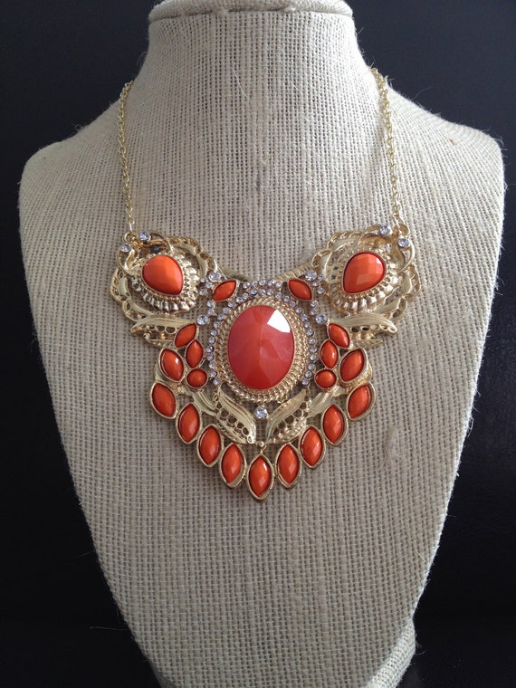 Coral Resin, Rhinestone & Gold Bib Necklace