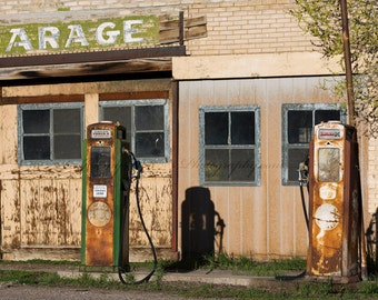 Fine Art Print of a Vintage gas station with gas pumps in Utah perfect for the man cave