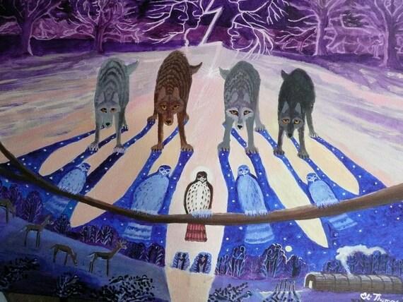 Wolf art, Native American art, indian art , art prints, hawk totem, wolf totem,  Hawks Lightening brothers ancient spirits print