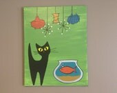 Black cat painting-  Mid century inspired