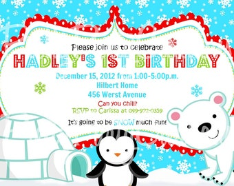 POLAR BEAR and PENGUIN invitation - You Print