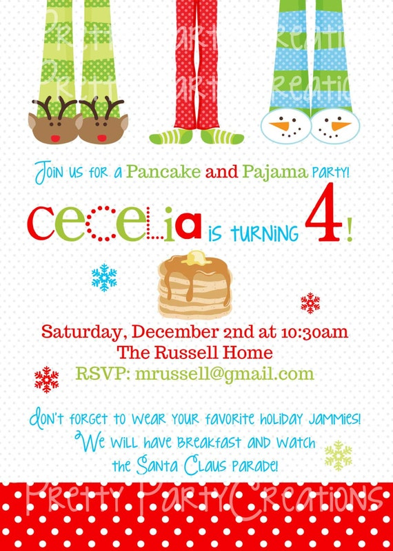 Pajamas And Pancakes Invitations – Pancake Party Invitations