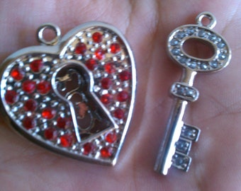 Silver and Red Rhinestone Heart and Key Charms 2pcs