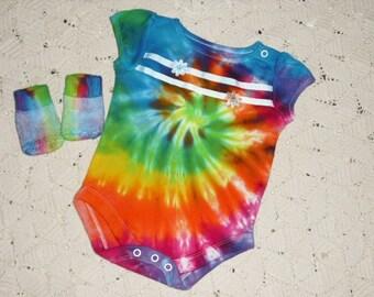 Tie dye bodysuit / socks, 0-3 month, rainbow spiral- LAST ONE- Get it now!