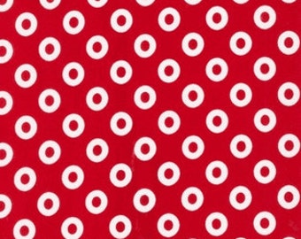Fabric 1 Yard Treasures & Tidbits 10993-3 RED LIFESAVER RINGS Christmas Circles Robert Kaufman Quilting Sewing