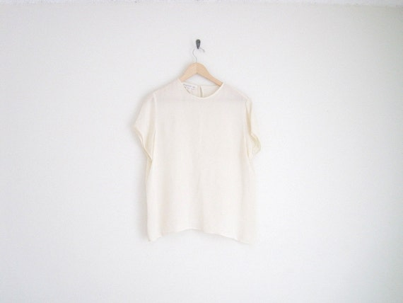 vintage cream silk blouse