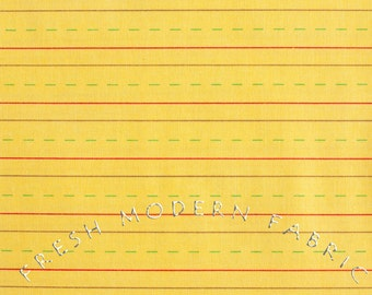 Half Yard Bungle Jungle Writing Paper in Yellow, Tim and Beck for Moda Fabrics, 100% Cotton Fabric