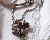 Fabric Flower Pendant Necklace