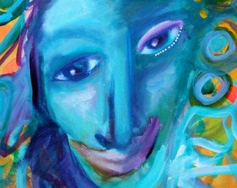 Who Is She- Original Painting of a Mysterious Lady by Erika Johnson 16 x 20 Inches Painting on Canvas