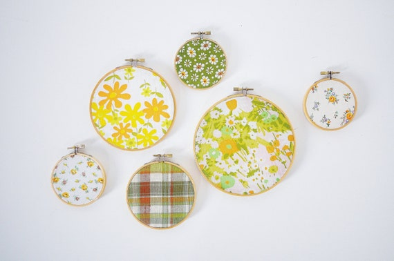 Vintage Fabric Hoop Decor