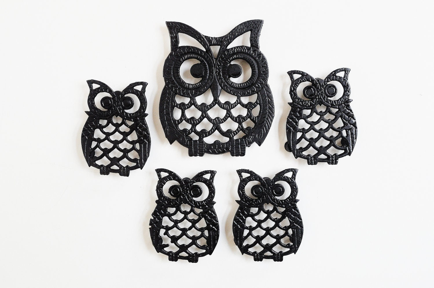 Black Kitchen Canister Set Owl Family Trivet Collection Cast Iron Trivets By