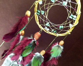 Dream Catcher- Soulful Vibration- White Willow Dream Catcher- with Tree Agate- Garnet- and Clear Quartz- Made to Order