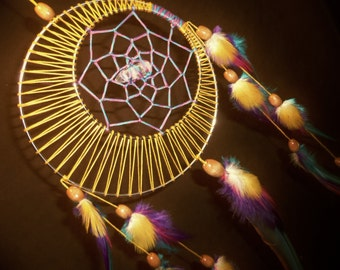 Dream Catcher- Moon Motions Signature Silver Ringed Dream Catcher- SUNSET MOON with Quartz Crystal- Made to Order
