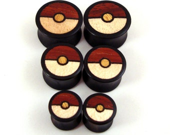 "Tri-Color Wood Inlay in Ebony Wooden Plugs - 5/8"" (16 mm) 11/16"" (17.5mm) 3/4"" (19mm) (20.5mm) 7/8"" (22mm) 1"" (25.5mm) 1 1/8"" (28mm) Gauges"