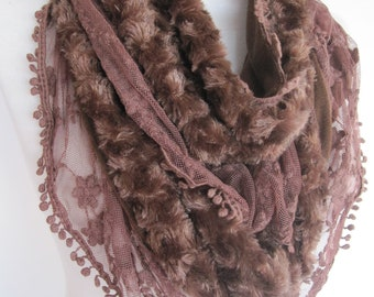 Velvet and Lace Brown Elegant  Scarf,  Gift