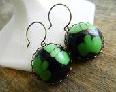 Green Black Earrings, Sci-Fi Earrings, Retro Earrings, Green Blob, Vintage Lucite, Retro Halloween, Retro Mod Jewelry, Mid Century Earrings
