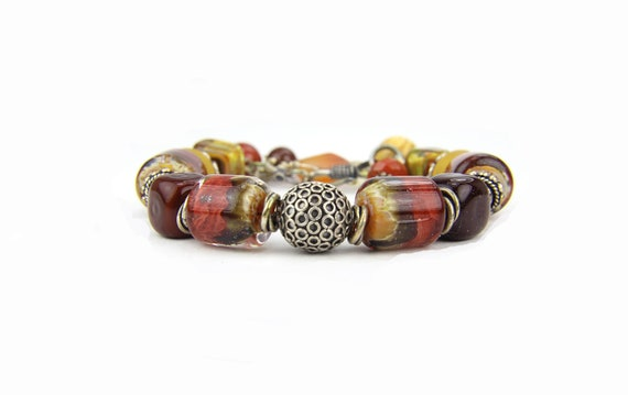 RESERVED for Cheryl-Sterling Silver Rustic Brown Rust Lampwork Bracelet: Bryce Canyon