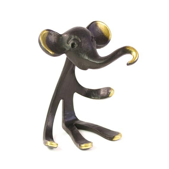 Vintage Walter Bosse ORIGINAL Modernist Austrian 1960s Brass Elephant Ring Holder