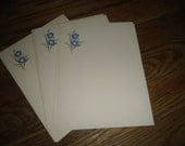 Vintage Stationary Paper  7 Pages with Blue Flowers