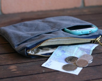 WAXED CANVAS pouch - travel gift - pencil case - waxed canvas purse - waxed canvas wallet - canvas bag - mens case - travel pouch