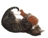 Cat Toy, Catnip Chicken Leg, Southern Fried, Turkey Drumstick, Hand Knit, Felted Wool, No polyfil,  Only Catnip