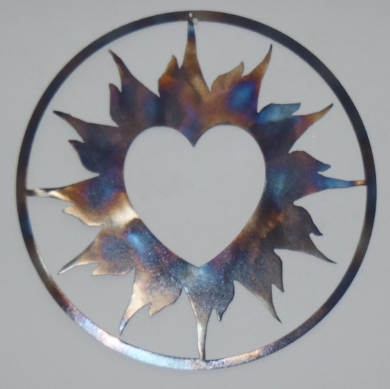 heart and sun metal art round wall decor by tibi291 on etsy. Black Bedroom Furniture Sets. Home Design Ideas