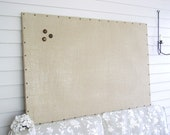 """Huge X-Large Burlap Memo Board - 34 x 52"""" MAGNETIC Bulletin Board with Hardwood Construction, Brass Upholstery Tacks and Button Magnets"""