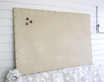 "Huge X-Large Burlap Memo Board - 34 x 52"" MAGNETIC Bulletin Board with Hardwood Construction, Brass Upholstery Tacks and Button Magnets"