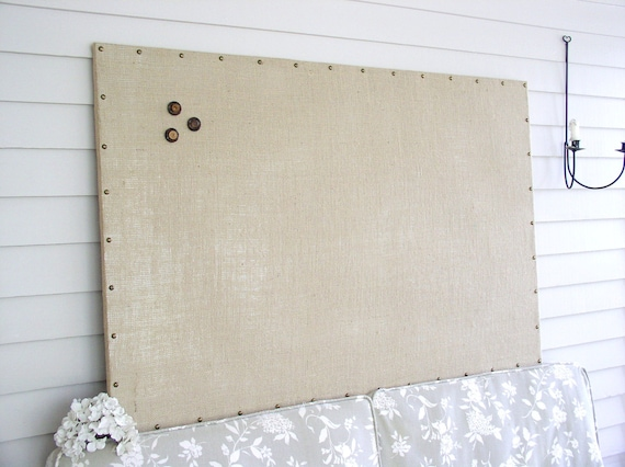 "Huge X-Large Bulletin Board Burlap MAGNETIC Board - 34 x 52"" with Hardwood Construction, Brass Upholstery Tacks and Button Magnets"